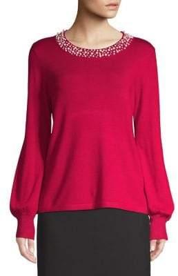 Karl Lagerfeld Paris Faux Pearl Embellished Bishop-Sleeve Sweater