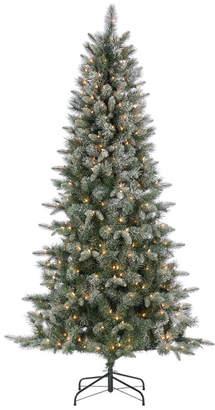 Sterling Tree Company 6.5Ft Flocked Pre-Lit Hard Mixed Needle Boise Pine W/ Warm White Lights