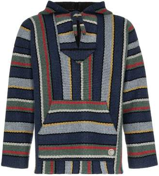 Alanui stripe knitted cashmere hooded sweater