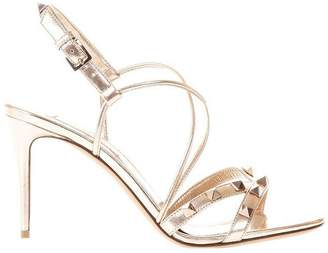 Valentino GARAVANI Heeled Sandals Rockstud Women's Sandals With Slingback Strap And Metal Studs