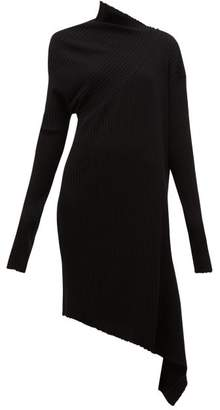 Marques Almeida Marques'almeida - Draped Asymmetric Knitted Merino Wool Dress - Womens - Black