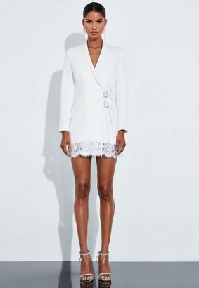 Missguided Ivory Lace Buckle Blazer Dress
