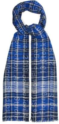 Acne Studios Logo Print Checked Cotton Twill Scarf - Womens - Blue
