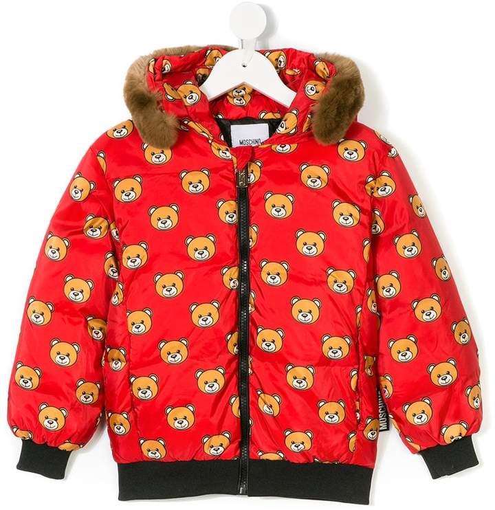 Moschino Kids bear print padded coat