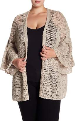 Susina Open Knit Bell Sleeve Cardigan (Plus Size)