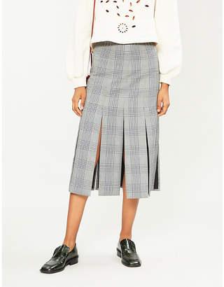 Maje Tartan pleated maxi skirt