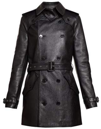 Saint Laurent Double Breasted Leather Trench Coat - Womens - Black