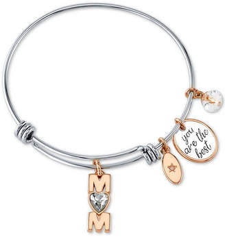 """Unwritten Mom """"You Are the Best"""" Crystal Heart Bangle Bracelet in Stainless Steel & Rose Gold-Tone Stainless Steel"""