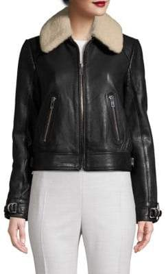 Maje Shearling-Collar Leather Bomber Jacket