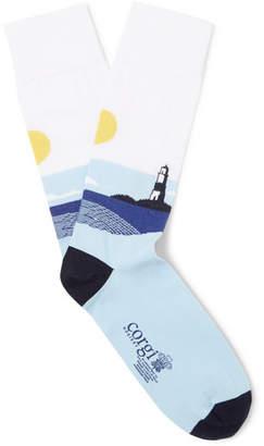 Corgi Intarsia Cotton-Blend Socks - Men - Blue