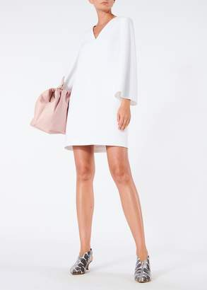 Tibi Structured Crepe V-Neck Bell Sleeve Dress