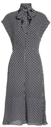 Milly Dot Print Tie Neck Silk Dress