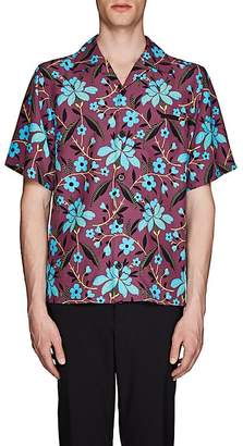 Prada Men's Striped Floral Bowling Shirt