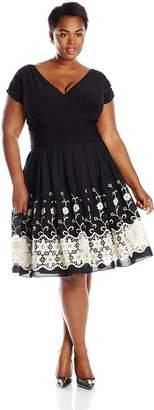 S.L. Fashions Women's Plus-Size Party Dress, Black/Ivory