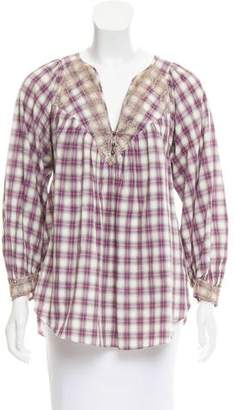 Rebecca Taylor Plaid Long Sleeve Top
