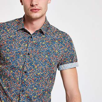 River Island Blue ditsy print short sleeve shirt