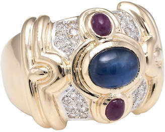 One Kings Lane Vintage 14k Gemstone Wide Band Cigar Ring - Precious & Rare Pieces