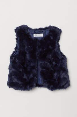H&M Faux Fur Vest - Blue