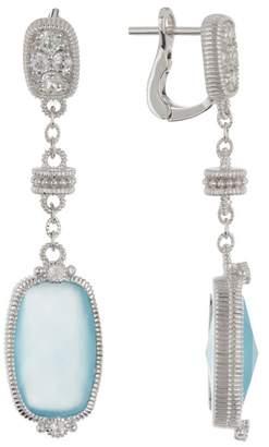 Judith Ripka Sterling Silver Gold Coast Elongated Cushion Stone Dangle Earrings