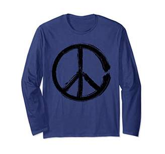 Peace Sign Distressed Long Sleeve T-Shirt