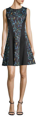 DKNY Sleeveless Printed Fit and Flare Dress