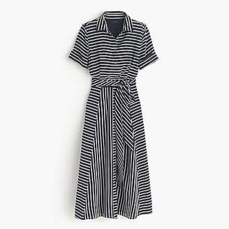 J.Crew Petite Collection silk shirtdress in stripe