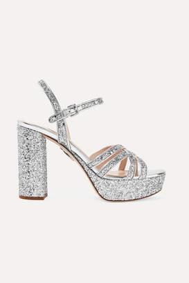 Miu Miu Glittered Leather Platform Sandals - Silver