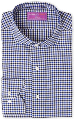 Lorenzo Uomo Blue & Black Check Trim Fit Dress Shirt