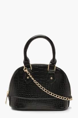 boohoo Croc Micro Mini Bowler Bag With Chain