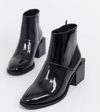 Monki patent ankle boots with square heels in black