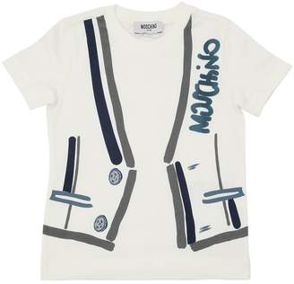 Moschino Flocked Logo Cotton Jersey T-Shirt