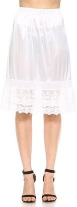 Melody Women's Long Double Layered Lace Satin Skirt Extender Underskirt Half Slip