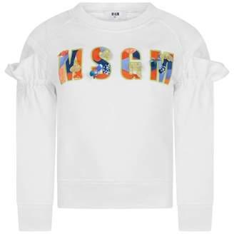 MSGM MSGMGirls White Embellished Logo Sweater