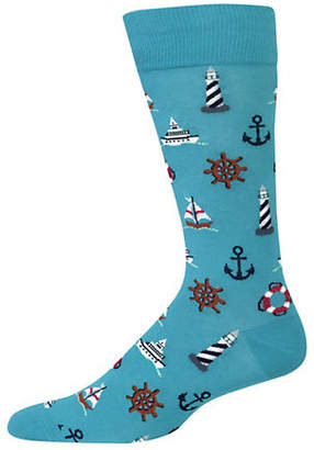 Hot Sox Nautical Icons Crew Socks