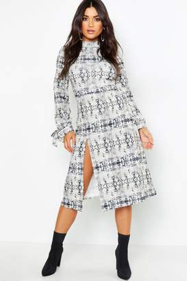 boohoo Thigh Split High Neck Fit + Flare Midi Dress