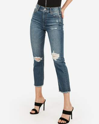 Express Super High Waisted Ripped Original Straight Cropped Jeans