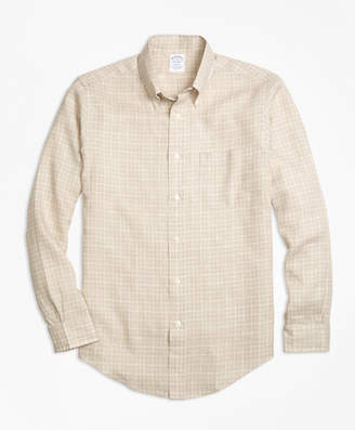 Brooks Brothers Regent Fit Check Irish Linen Sport Shirt