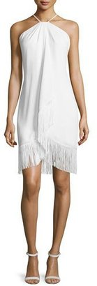 Carmen Marc Valvo Fringed Toga Cocktail Dress $595 thestylecure.com