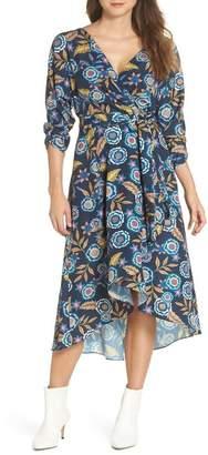 Eliza J Floral High/Low Faux Wrap Dress