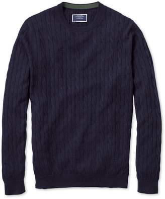 Charles Tyrwhitt Navy Crew Neck Lambswool Cable Knit Sweater Size Large