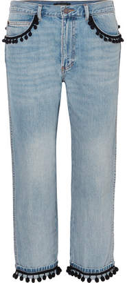Marc Jacobs Pompom-embellished Slim Boyfriend Jeans - Blue