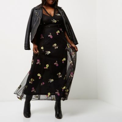 River Island River Island Womens Plus Black floral embroidered maxi dress