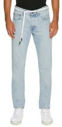 Off-White Spray-Paint Diagonal-Stripe Straight-Leg Jeans, Light Blue $595 thestylecure.com