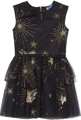 Truly Me Hannah Banana Glitter & Stars Mesh Fit & Flare Dress