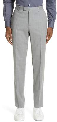 Ermenegildo Zegna Flat Front Solid Stretch Wool Trousers