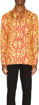 Versace Printed Silk Shirt in Red | FWRD