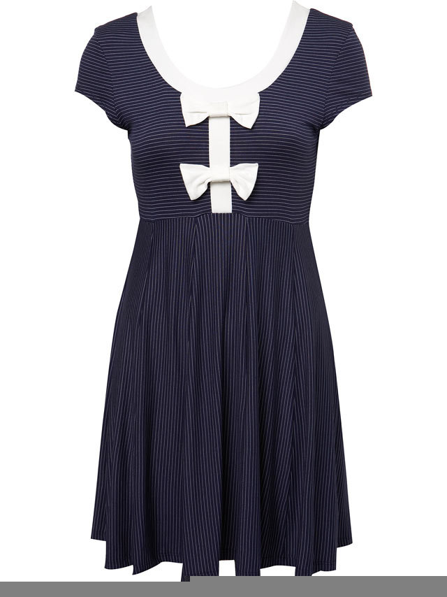 Navy Stripe Bow Dress
