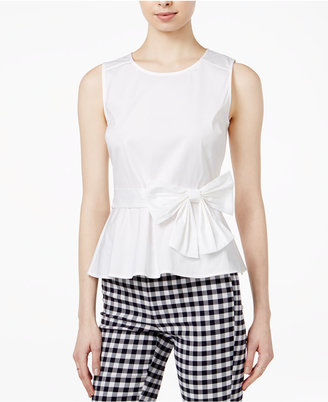 Maison Jules Bow-Detail Peplum Top, Created for Macy's $59.50 thestylecure.com
