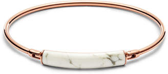 Fossil White Reconstituted Marble Plaque Rose Gold-Tone Steel Bangle