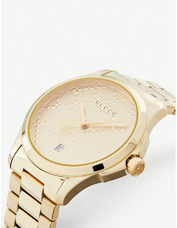 9908c5bbc1c7a8 Gucci YA126461 G Timeless gold-plated stainless steel watch detail image